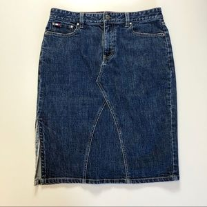Tommy Hilfiger Long Slit Side Denim Skirt